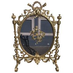 French Gilt Bronze Cherub and Decorative Floral Acanthus Firescreen, Circa 1830