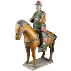 Important Ancient China Amber Glazed Horse and Rider Ming Dynasty, 1368-1644