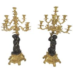 Impressive Pair of Ten Light Candelabra, French Bronze and Ormolu, 19th Century