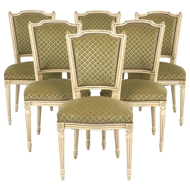 Set Of Antique French Louis XVI Style Sage Green Dining Chairs For Sale