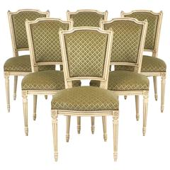 Set of Antique French Louis XVI Style Sage Green Dining Chairs