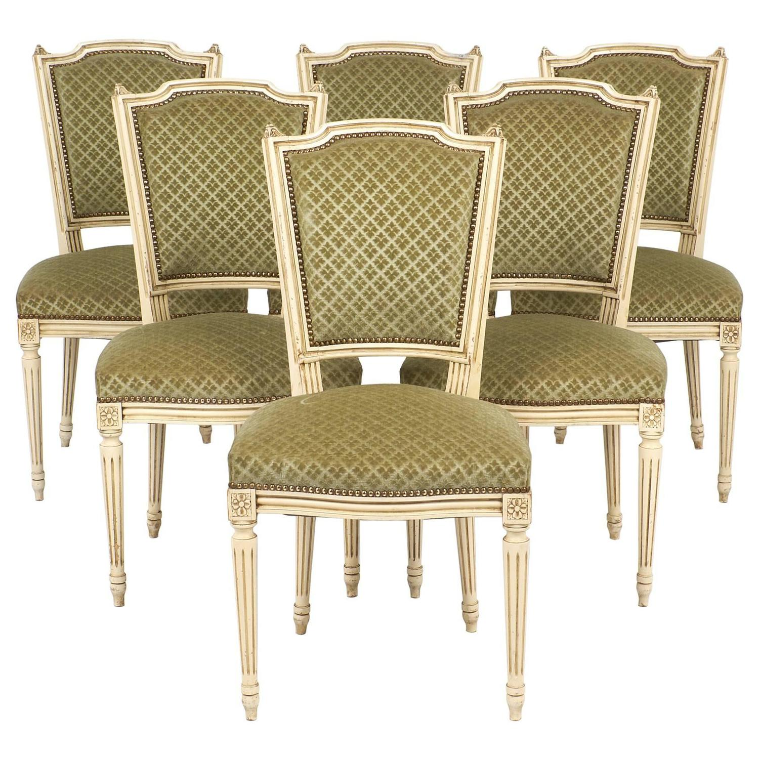 Set of Antique French Louis XVI Style Sage Green Dining Chairs For ...