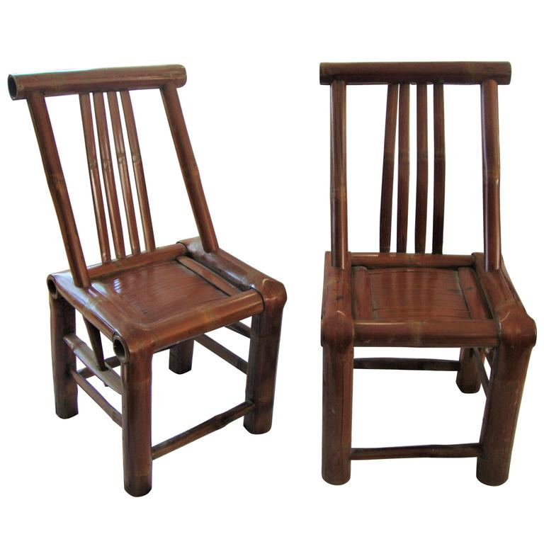 Pair of 200 year old asian hand shaped bamboo chairs for for Old asian furniture