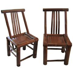 Pair of 200 Year Old Asian Hand Shaped Bamboo Chairs