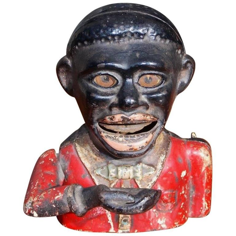 American Jolly N Figural Painted & Cast Iron Mechanical Bank, Circa 1900