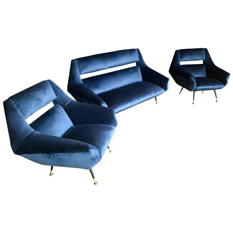 Three-Piece Sofa and Armchairs, Set by Gigi Radice for Minotti, 1950s For Sale