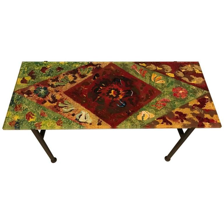 Italian Mid-Century Modern Coffee Table with Multicolored Glass Top