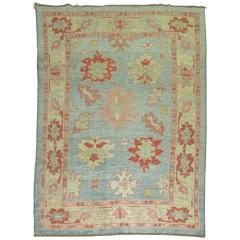 Vintage Inspired Oushak Rug in Blues and Pink