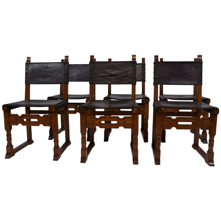 Antique French Set of Six Dining Chairs