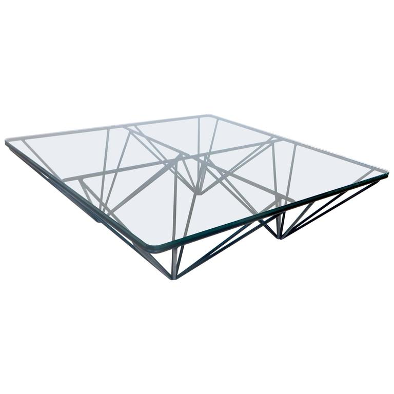 Low Square Black Steel Italian Coffee Table In The Style Of Paolo Piva At 1stdibs