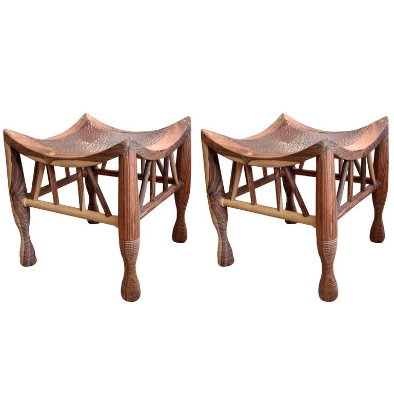 Pair of Artisan Crafted Wood and Hammered Copper Stools For Sale