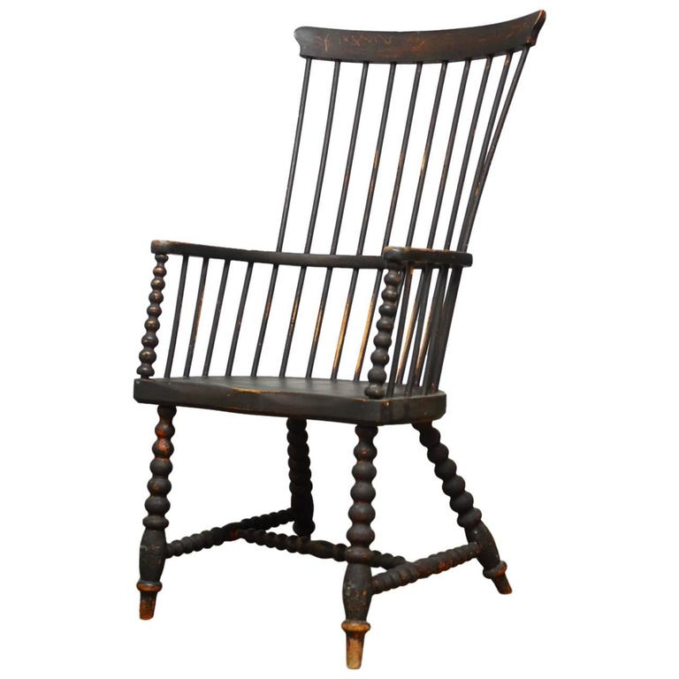 18th Century American High Back Windsor Chair For