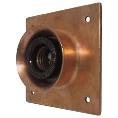 1920s New York Copper-Plated Brass Single Subway Flush Mount Light