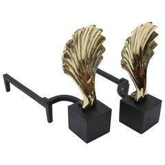 Set of Hollywood Regency Style Andirons with Shell Motif in Brass