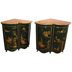 Pair of Maison Jansen Louis XV Style Green and Gilt Japanned Encoignures