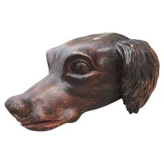 19th Century Hand-Carved Dog Head