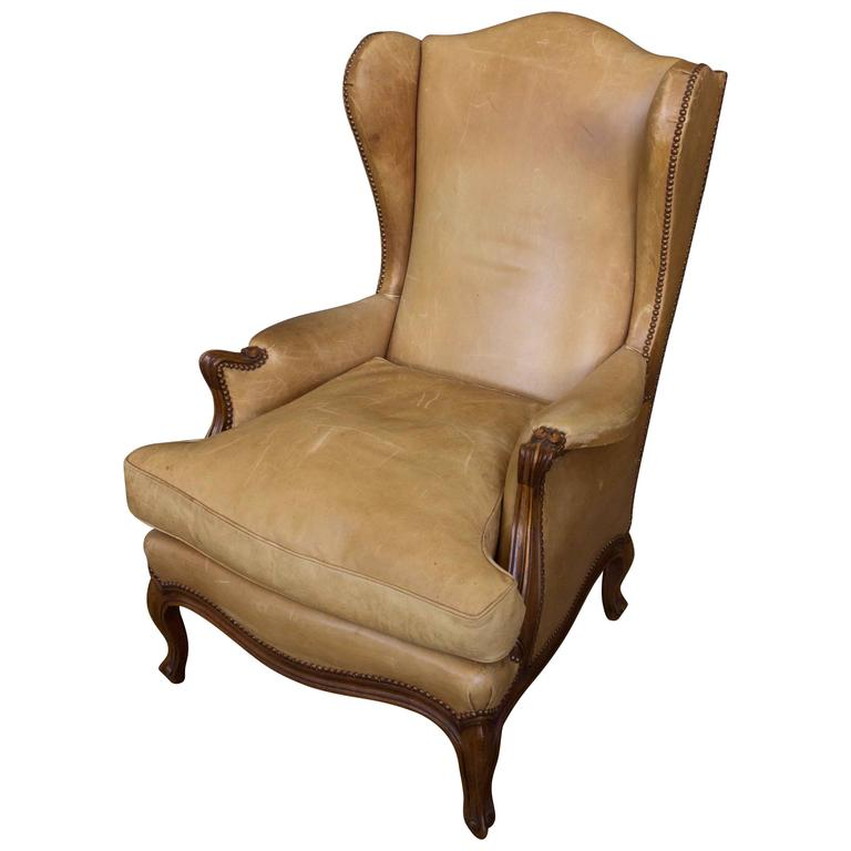 louis xv style leather wingback armchair for sale at 1stdibs. Black Bedroom Furniture Sets. Home Design Ideas