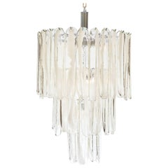 Murano Crystal and Opaline Glass Tiered Chandelier