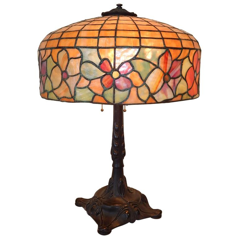 Tiffany Style Leaded Glass Table Lamp By Bradley And
