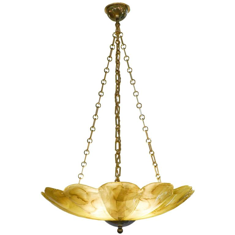 Amber Murano Glass and Brass Pendant Chandelier
