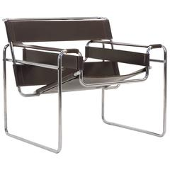 Early Original Knoll Gavina Wassily Chair by Marcel Breuer in Brown Leather