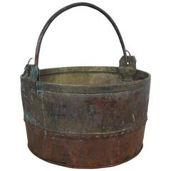 18th-19th Century French Copper and Brass Log Bucket