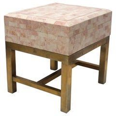 Maitland Smith Style Tessellated Marble Box on Brass Stand Side Table
