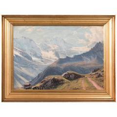 Antique 19th Century Original Oil Painting of a European Alpine Scene