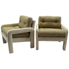 1970s Milo Baughman Style Upholstered Parsons Style Armchairs
