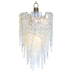 """Iridescent Murano Glass """"Ghiacciolo"""" Chandelier"""
