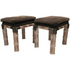 Pair of Sarried Ltd. Style Faux Bamboo Rectangular Benches