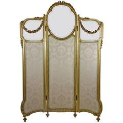 19th Century Louis XVI Style Giltwood Screen