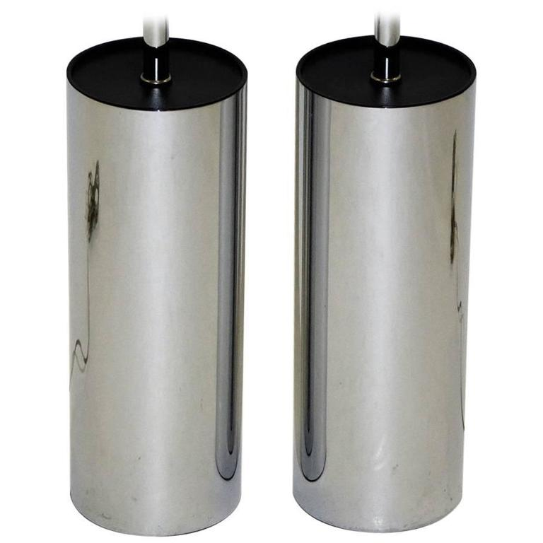Pair Of Robert Sonneman Chrome Cylinder Table Lamps For