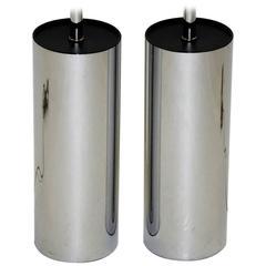 Pair of Robert Sonneman Chrome Cylinder Table Lamps for Kovacs