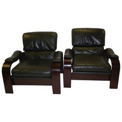 Alvar Aalto Style Dark Green Leather and Bentwood Lounge Chairs