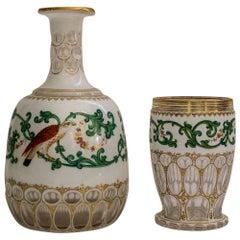Biedermeier Carafe and Glass Goblet