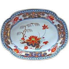 Antique English Turner's Patent Ironstone Imari Large Dish, Lily & Willow patt.