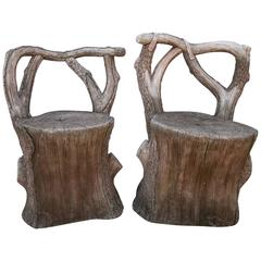 Pair of Beautiful Faux Bois Chairs