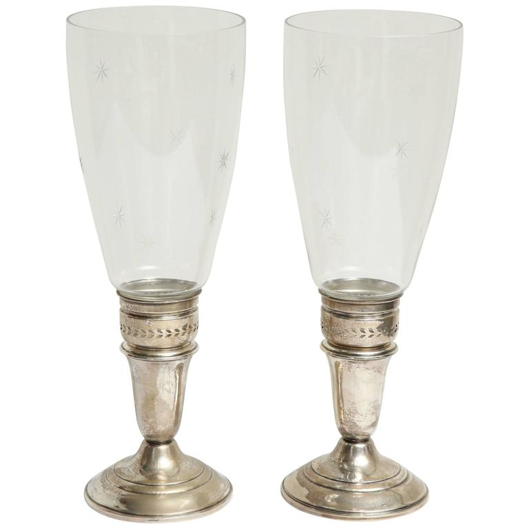 Pair of 20th Century Sterling and Crystal Candleholders