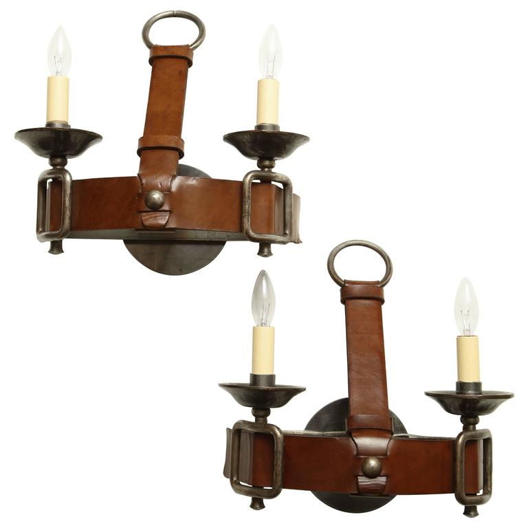 Pair of Equestrian Steel and Leather Two-Light Wall Sconces, France, circa 1950 For Sale at 1stdibs