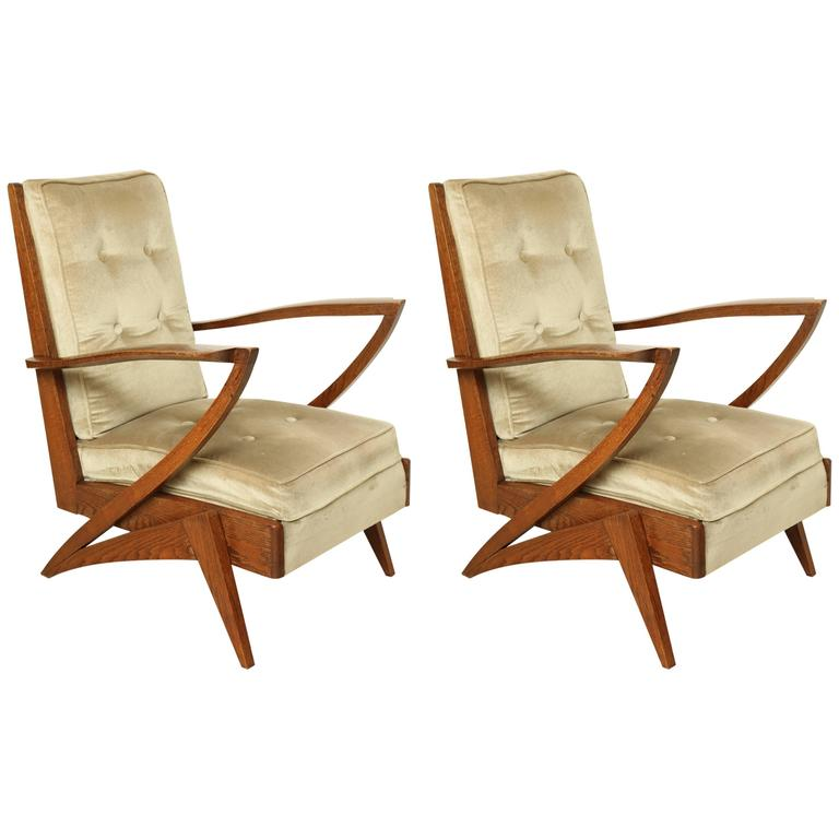 Pair of French Mid-Century Modern Wood and Upholstered Armchairs, circa 1950