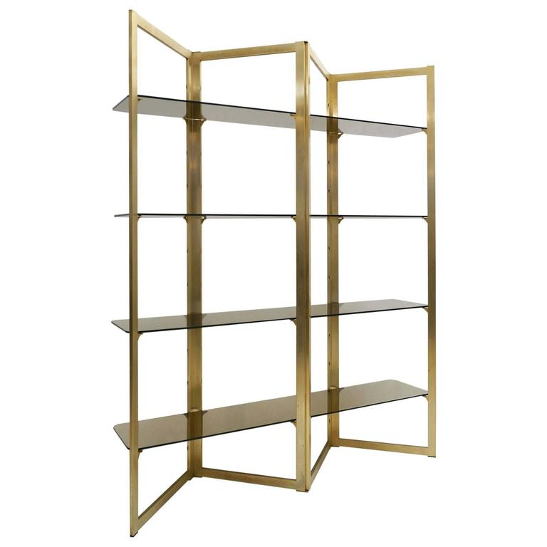 Mid-Century Folded Brass Étagère with Four Glass Shelves, France, circa 1960