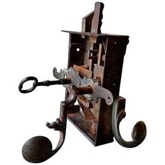 18th Century Swiss Cast Iron Door Latch with Original Key