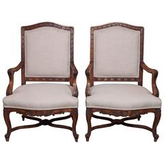 Pair of Antique French Walnut Fauteuils