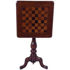 Victorian Mahogany Tilt-Top Chess Table on a Tripod Support