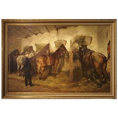 Large Oil on Canvas from Belgium, 'The Stable Master and Horses'