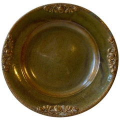 Danish Stoneware Bowl by Michael Andersen with Floral Brass Edge and Ornaments