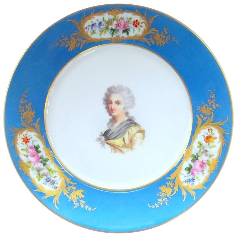 Antique French Sèvres Hand-Painted Porcelain Portrait Cabinet Plate For Sale  sc 1 st  1stDibs & Antique French Sèvres Hand-Painted Porcelain Portrait Cabinet Plate ...