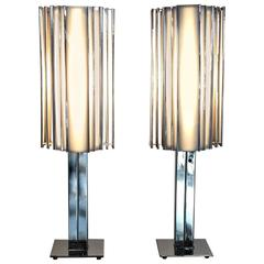 Pair of Art Deco Revival Chrome and Plexiglass Skyscraper Table Lamps