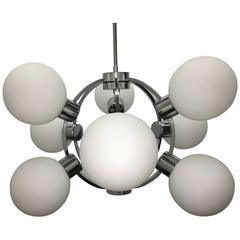 Opal Glass and Chrome Nine-Ball Sputnik Chandelier